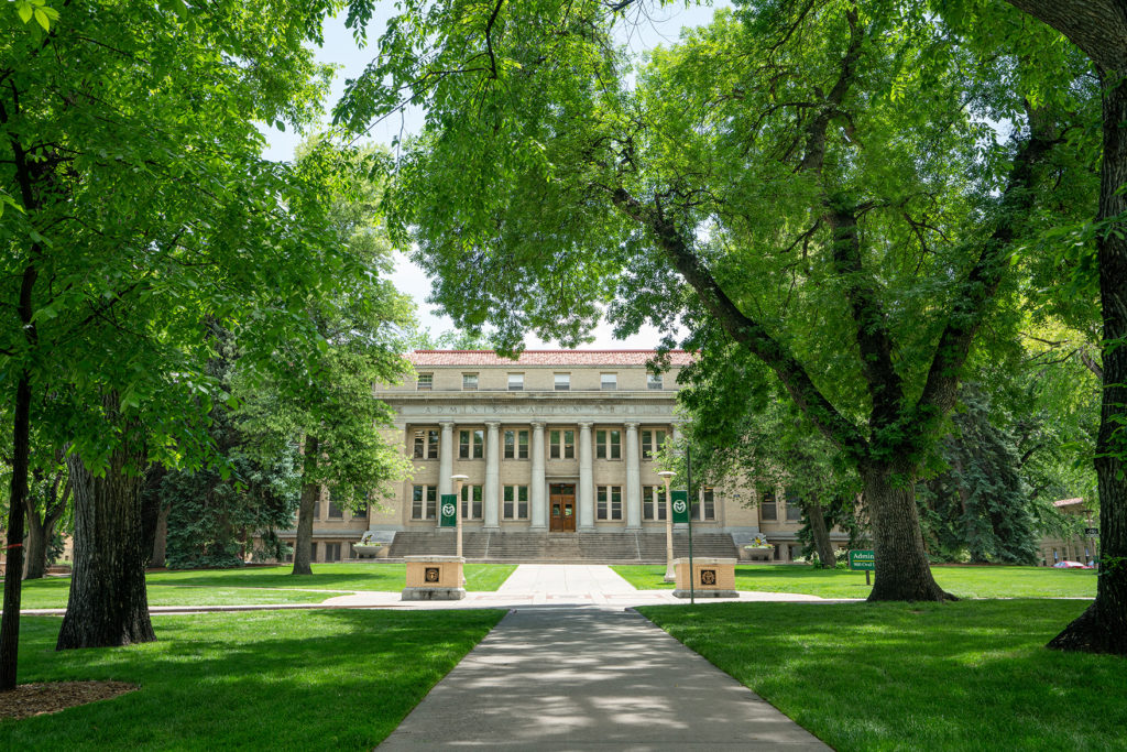 The CSU Admin Building as seen from the Oval