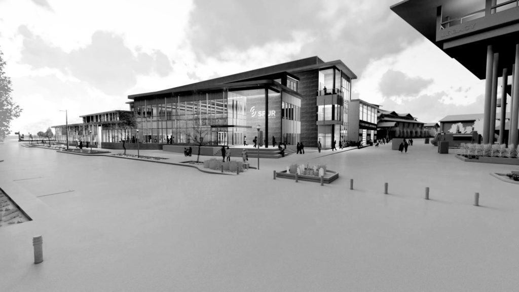 Street level rendering of the Spur Vida building in black and white