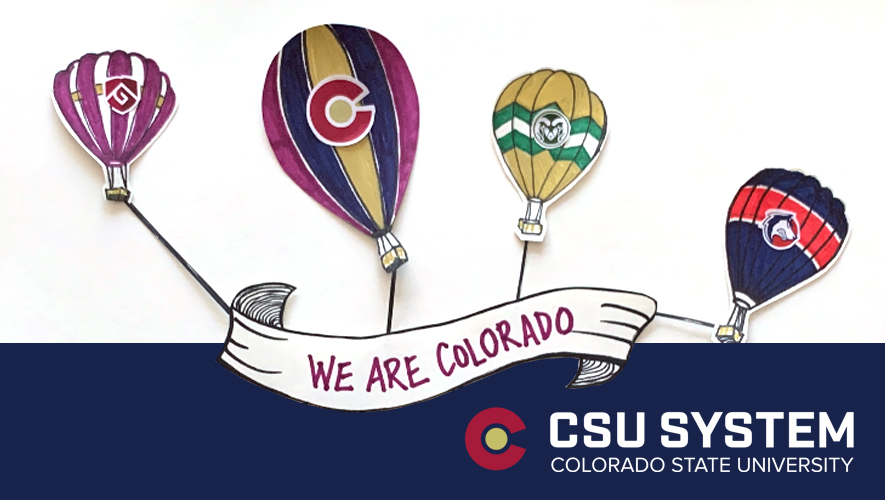 Animated hot air balloons with CSU System branding