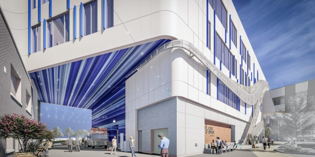Street level rendering of a white and blue building