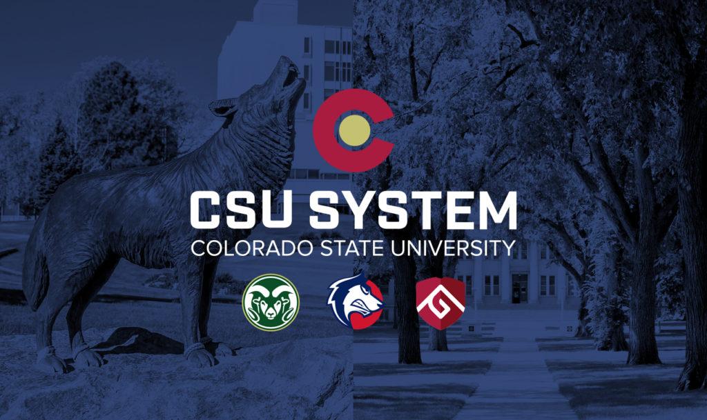 CSU System logo on a blue background